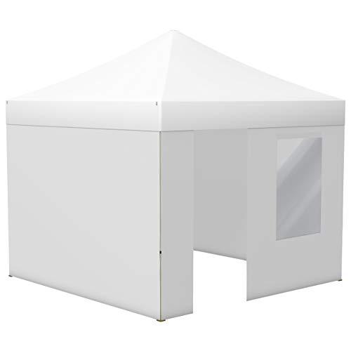 Vispronet Profi Faltpavillon Basic 3x3 m in Weiß, Stahl-Scherengitter, 4 Seitenteile - Davon 1 Wand mit Tür & Fenster (weitere Farben & Größen)