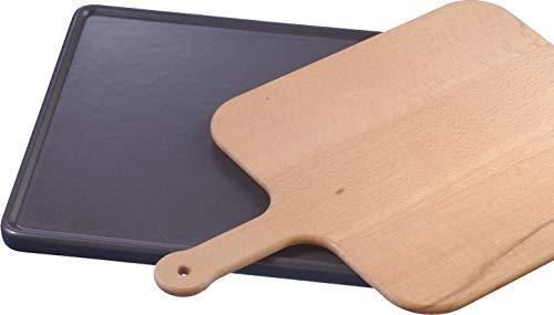 Bosch HEZ327000 Zubehör für Backöfen / Backstein mit Holzschieber / Keramik / Anthrazit / Ideal für das Backen von Brot, Fladenbrot, Pizza, Tiefkühlgerichten / Pyrolysefest / 25 x 330 x 375 mm