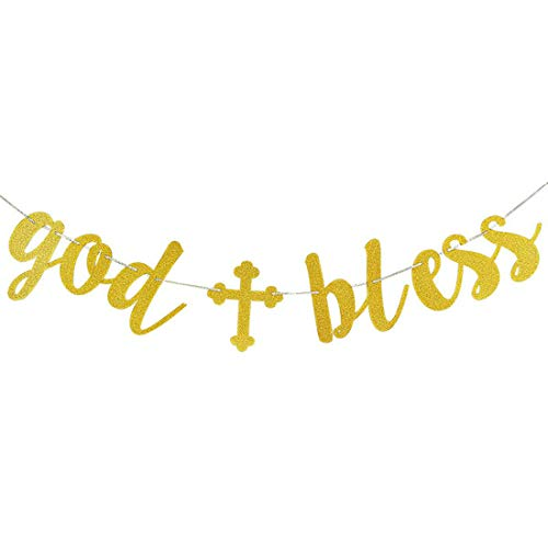 Morndew Glitter Gold God Bless Banner for Christian Baptism Party Birthday Party Baby Shower Wedding Party Bunting Decoration