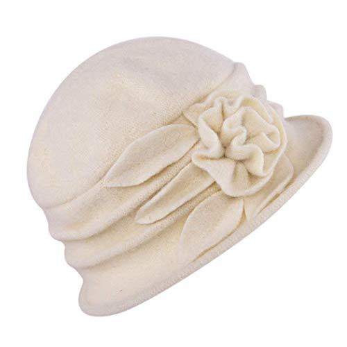 Beanie Bell Hat Ladies Vintage Bucket Hat Beret Cloche Sombrero De Copa Años 20 Con Detalle Floral Sombrero De Invierno Slouch Hat Caps (Color : Beige, Size : One Size)