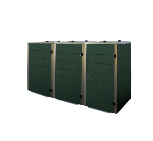 Mülltonnenbox Edelstahl, Modell Eleganza Line 240 Liter als Dreierbox in RAL 6005 Moosgrün