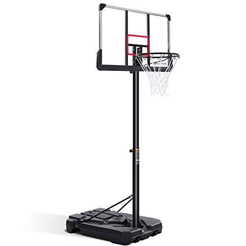 MARNUR Portable Basketball Hoop & Goal Outdoor Basketball System Set with Height Adjustable 6ft 7in-10ft with 44 Inch Backboard & Wheels for Kids Youth Adult Family Indoor