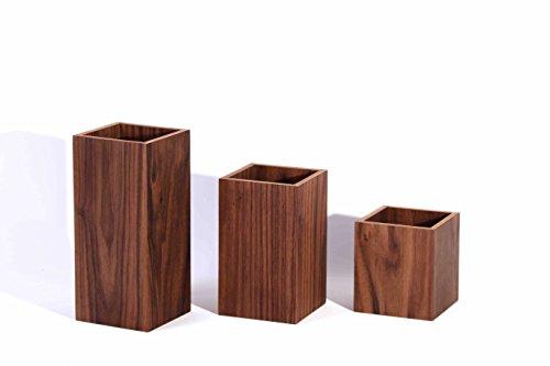 WOODEN+ 9CM Holz Sukkulenten Töpfe aus Walnuss, Mini Blumentopf 3er Set für Kakteen Moos Zimmerpflanzen, Übertöpfe, Pflanzgefäße, Eckig, Braun