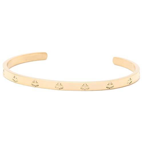 Hafen-Klunker Anker Armreif - Damen Edelstahl Armband Gold Schmal Edelstahl mit Anker-Gravur - Größenverstellbares Damenarmreif in hochwertiger Geschenkbox u. einzigartigem Design