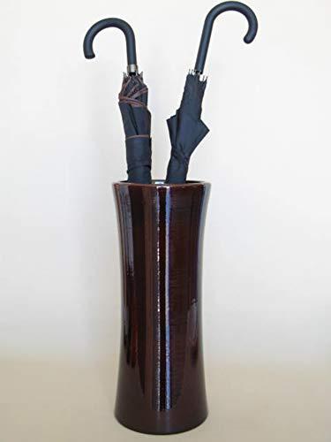 POLONIO - Paraguero de Ceramica Marron de 50 cm - Bastonero de Ceramica para Entrada y Pasillo - Jarron de Ceramica Grande Color Marron Brillo.