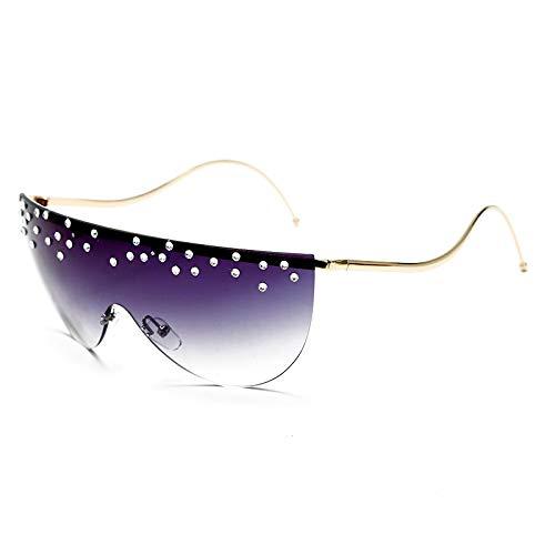 ShZyywrl Gafas De Sol De Moda Unisex Gafas De Sol De Gran Tamaño Sin Montura para Mujer, Gafas De Sol con Patas Curvas Únicas, Gafas De Cristal Transparentes D