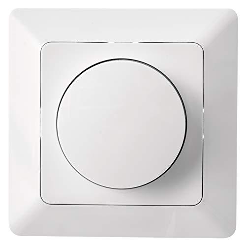 EMOS LED Dimmer mit Drehknopf für LED-Lampen und Halogenlampen, Unterputz Drehdimmer/Dimmschalter, 7-110 W/VA, weiß, A6003.0