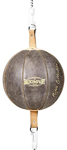 Bad Company Retro Doppelendball aus Rindsleder inkl. elastischen Spanngurten I 25 cm Durchmesser I Boxball für das Reflex- und Boxtraining