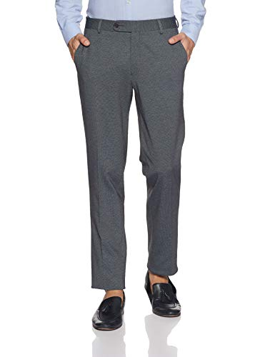 John Players Men's Slim Fit Formal Trousers (JFMWTRS180050005_Jet Black_36)
