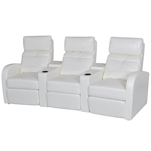 vidaXL White Artificial Leather 3-Seat Home Theater Recliner Sofa Lounge w/ Cup Holder