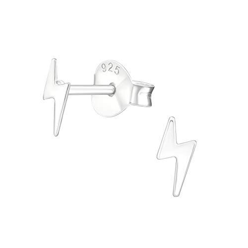 Pendientes de tuerca de plata de ley con diseño de rayo de 6 mm