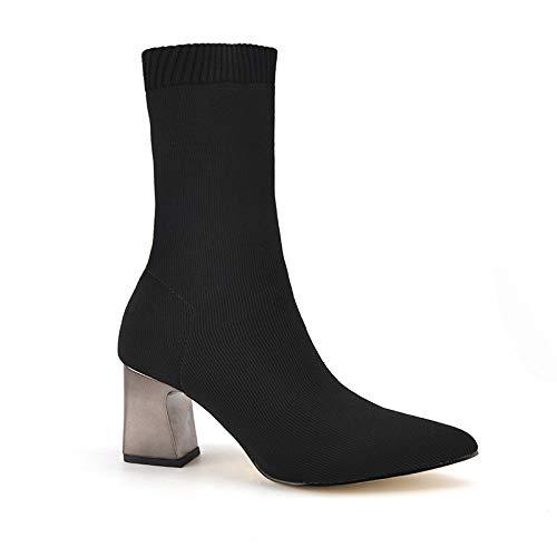 Shukan laarzen voor herfst en winter, dik, voor dames, met laarzen in het midden, gebreid, sokken, laarzen, laarzen, dames, hoge hakken