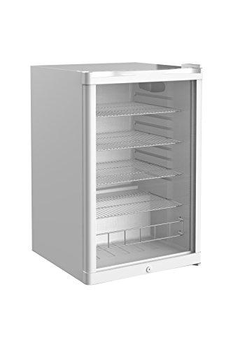Glastür-Kühlschrank 84,5 x 54,0 x 55,0 cm weiß | Getränkekühlschrank, Flaschenkühlung, Bierkühlung | Gewerbekühlschrank mit 130 Liter Kühlvolumen | Freistehend mit manueller Temperaturkontrolle