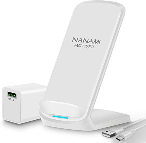 「USB充電器セット」NANAMI ワイヤレス急速充電器 Qi/PSE認証 iPhone 12/12 Pro/SE (第2世代) /11 / 11 Pro / Xs / XR / Xs Max / X / 8 / 8 Plus、Galaxy S21(Ultra 5G) / S20 /S10 / S10+ / S9 / S9+ / S8 / S8+ / Note 10 / Note 9 、他のQi機種対応 5W/7.5W/10W USB Tyep-C端子 Qiuck Charge QC3.0 アダプター付属 置くだけ充電 ワイヤレスチャージャー お中元ギフト 白