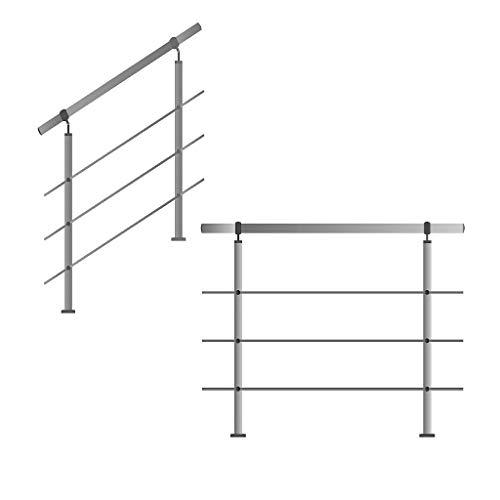 Edelstahl-Handlauf Geländer für Treppen Brüstung Balkon mit/ohne Querstreben (bis 1.0m inkl. 2 Pfosten 3 Querstangen)