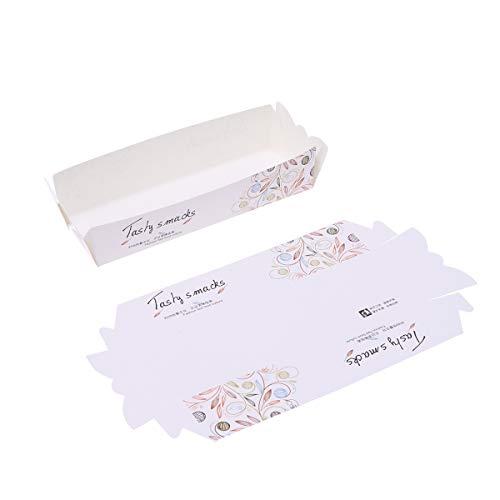 Amosfun 100pcs Cajas de embalaje de alimentos Perritos calientes Papas fritas Panadería Caja desechable frita Caja de papel que sirve Bandeja de alimentos (14.5 x 5.3 x 5.3 cm)