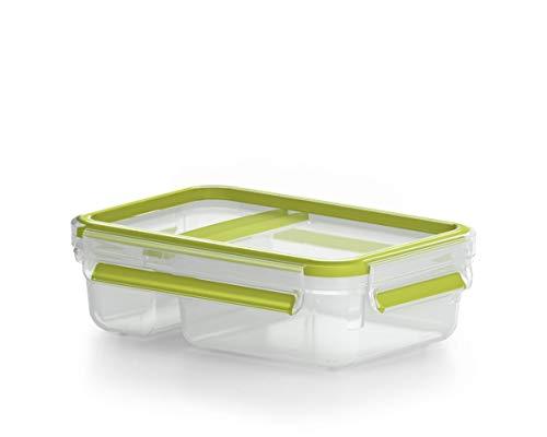 Emsa Lunch- und Snackbox mit praktischer Knick-Ecke und Deckel, Yoghurtbox, Volumen: 0,6 Liter, Transparent/Grün, Clip & Go, 518103
