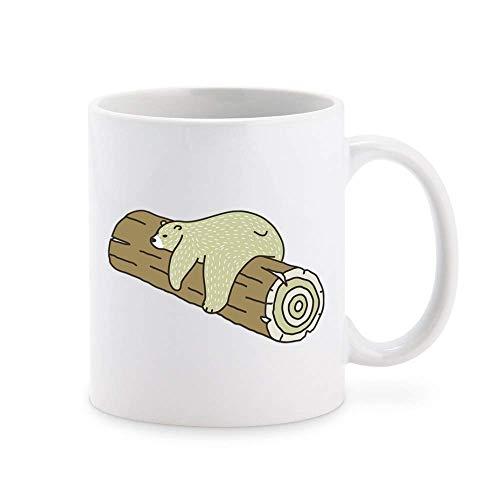 N\A Cute Sleepy Tired Lazy Bear on Log Taza de café de Dibujos Animados Taza de té Novedad Tazas de Regalo 11 oz