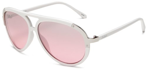 Southpole Women's 188SP Aviator Sunglasses, White Frame/Gradient Smoke To Pink Lens, 55 mm