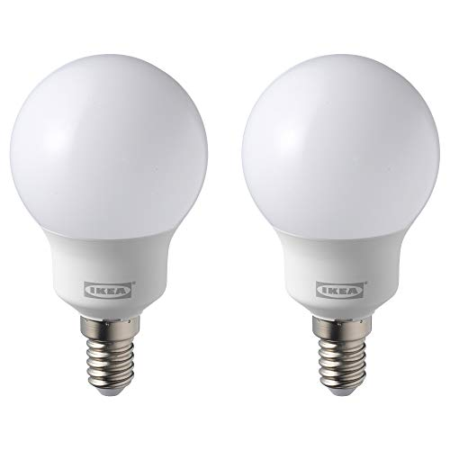IKEA RYET LED-Birne, E14, 600 Lumen, 5000 K, Tageslicht, 2 Stück, plastik, weiß, 2er-Set, E14