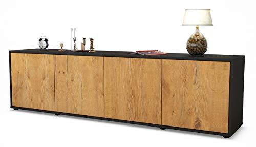 Stil.Zeit TV Schrank Lowboard Antonia, Korpus in anthrazit matt/Front im Holz-Design Eiche (180x49x35cm), mit Push-to-Open Technik, Made in Germany