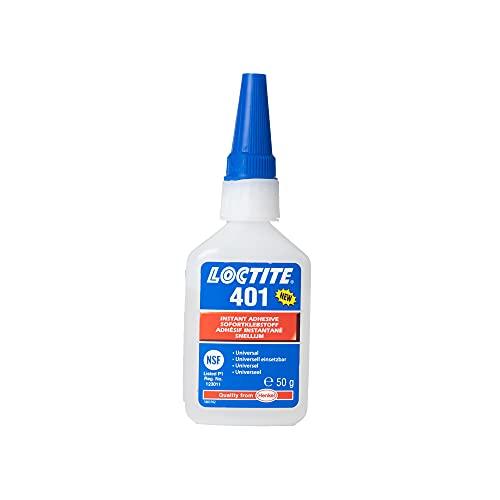 LOCTITE 401, universell einsetzbarer Flüssigkleber, hochfester Kleber für schnelle Reparaturen, schnell härtender Cyanacrylat Sekundenkleber für viele Materialien, 1x50g