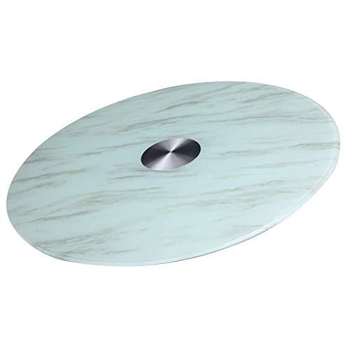 Lazy Susan - Piatto girevole in vetro temperato con motivo marmo, facile da usare, facile da separare, in vetro, girevole, Lazy Susan (dimensioni: 90 cm)