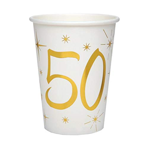 Chal - 20 Gobelets Anniversaire 50 ans blanc et or