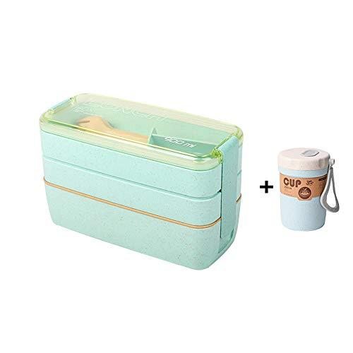 ZhiWei Bento Lunch Box, Kinder Lunchbox, Mittagessen Container, Natur Weizen 3 Compartments 900Ml Umweltfreundlich Leckschutz Box Mit Suppentasse, Erwachsene Kinder Löffel,Grün