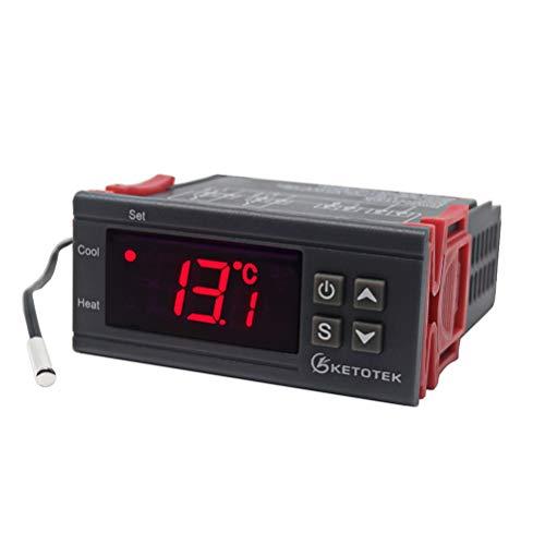 KETOTEK Digitale temperatuurregelaar Thermostaat DC 12V voor incubator Aquarium Kas Huisbrouwsel Vergisting Verwarming Koeling 2 Relaisuitgang met sonde