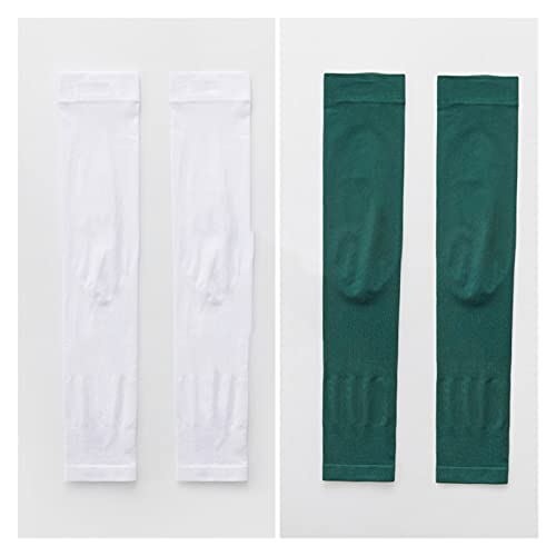 XDQ 2 Pair UV Sun Protection Compression Arm Sleeves, UPF50+Cooling Athletic Sports Sleeve, Long Sunblock Protective Arm Cover, Comfortable (Color : White+Green, Size : Pair)