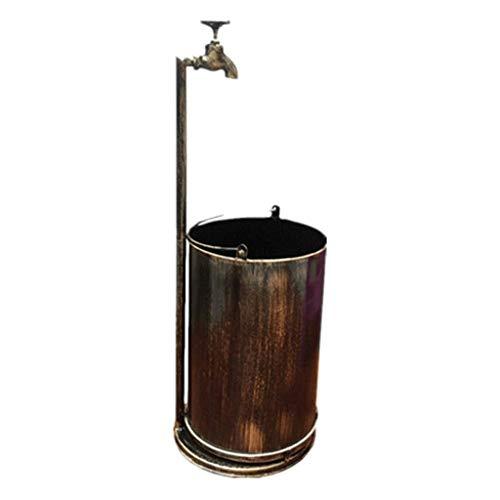 Bote de Basura Grande Retro metal grifo de la papelera redonda bote de basura de la basura Jardín decorativo al aire libre pueden hecho a mano (Bronce) Bote de basura para uso comercial ( Color : A )
