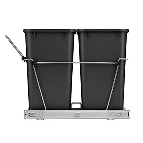 Rev-A-Shelf RV-18KD-18C S Double 35 Quart Sliding Pull-Out Waste Containers Garbage Trash Recycling Bins for Kitchen Cabinets, Black