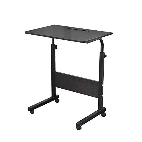 sogesfurniture 60 * 40cm Adjustable Height Laptop Table with Tablet Slot, Mobile Computer Stand Desk Portable Side Table for Bed Sofa, Black 05#3-60BK-BH
