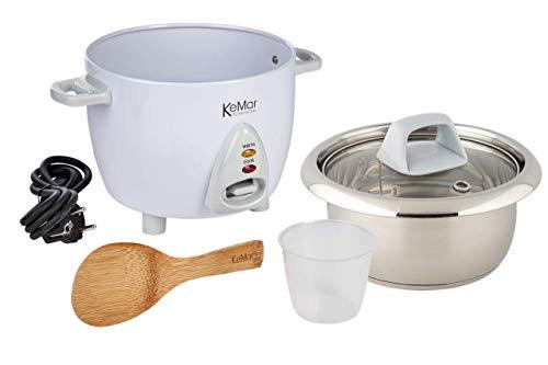 KeMar Kitchenware KRC-100 Reiskocher Edelstahltopf | Kompakt (0,6L, 300W, Weiß) | Glasdeckel | BPA-frei | Bambuslöffel | Edelstahl Innentopf | Edelstahleinsatz | Edelstahlschüssel