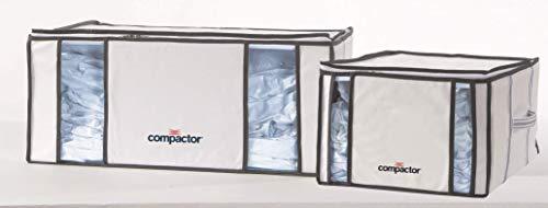 Compactor, Housses de compression Life Style, Lot de 2 Sacs de Rangement Semi-rigides Blanc/Gris, 1 x M et 1 x XXL, Dimensions: 42 x 40 xH.25 cm / 65 x 50 x H.27 cm, RAN7023_INTER