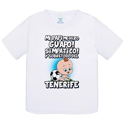 Camiseta bebé mi papi me hizo guapo simpático y sobretodo aficionado al fútbol de Tenerife - Blanco, 1 año