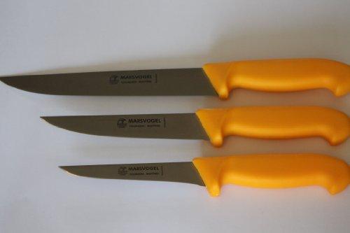 Marsvogel Solingen Lot de 3 couteaux à désosser 13 cm, 1 couteau à désosser 15 cm, 1 couteau ménager 21 cm Manche en plastique jaune Épaisseur du dos 2,4 mm