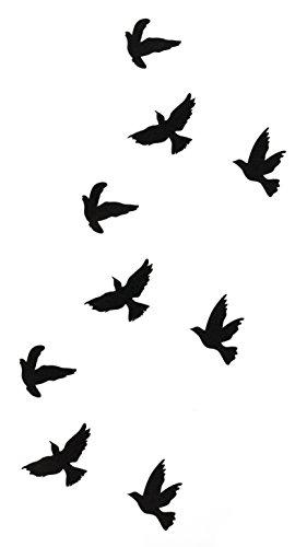 Temporäres Arm Fake Tattoo Vogel Vögel Freiheit für Frauen mit Motiv Entfernbare Klebe Henna Tattoos Festival Abzieh-Tattoo Folie Künstlich Schwarze Körperkunst Aufkleber Arm Sleeve Temporary