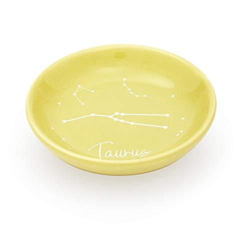 Ceramic Jewelry Tray, Taurus Zodiac Sign Trinket Tray (3.5 Inches, Khaki)