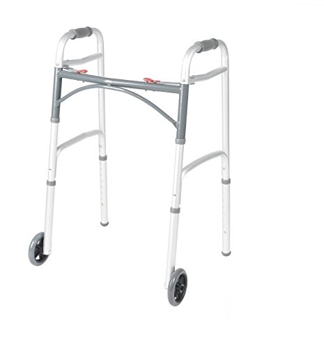 """Front Wheeled Walker Folding Deluxe with 2 Button and 5"""" Wheels, Adjustable Height (Short, Standard, Tall People) by Healthline Trading"""