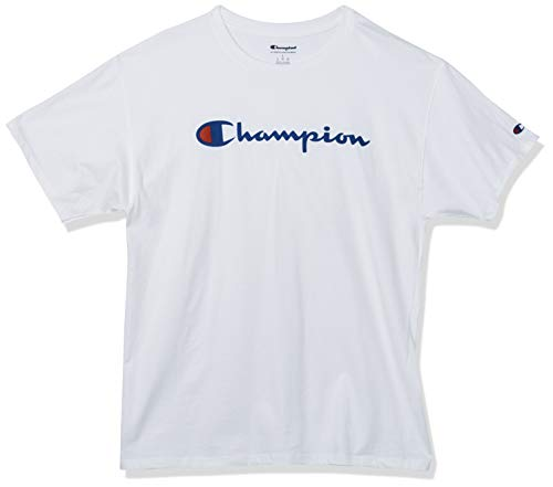 Champion Men's Classic Jersey Script T-Shirt, White, Medium