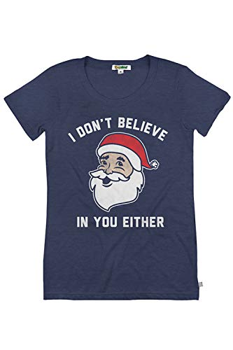 Women's Funny Christmas T Shirts - Cute Christmas Tops for Ladies (Small, Don't Believe)