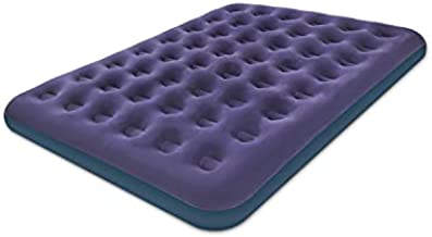 Queen Size Air Mattress for Inflatable - Portable Blue Blow Up Mattresses with Flocked top - Double Foldable Air Bed for Tent Camping Home Travel Backpacking