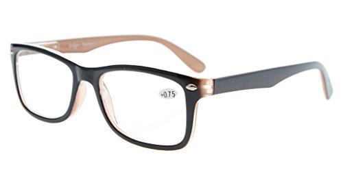 Eyekepper Classic Vintage Style Reading Glasses, Black-Brown +1.00