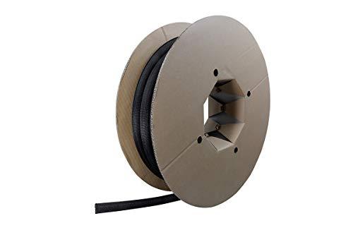 Label-the-cable Kabelschlauch / Kabelschutz / Kabelkanal: Gewebter Kabelmantel, Selbstschließend, zuschneidbar ohne Ausfransen, sehr Flexibel und robust, LTC CABLE TUBE, 25 m, Schwarz, PRO 5110