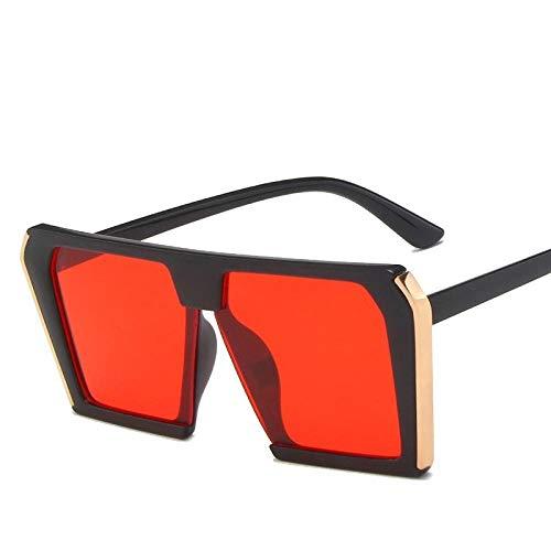 Gafas De Sol Hombre Mujeres Ciclismo Gafas De Sol Clásicas para Mujer, con Montura Cuadrada, Gafas De Sol para Hombre, Rojo