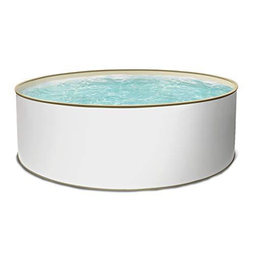 Paradies Pool® Aufstellpool Komplettset - Gartenpool mit Stahlwand in rund inkl. Poolleiter Skimmer Sandfilteranlage & Zubehör mit 4 Jahre Garantie (350 x 120)