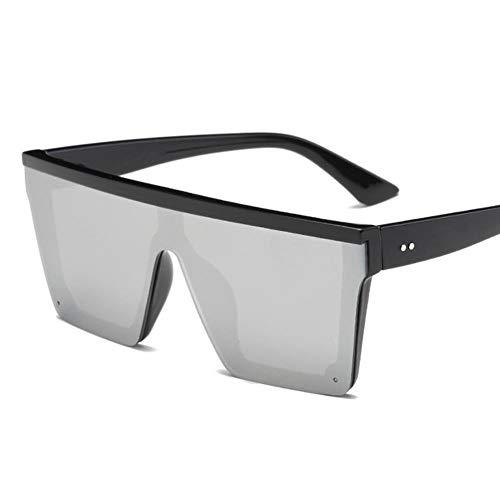 FSHB Gafas de Sol Mujer, Gafas de Sol Vintage con Espejo de Moda, Montura Grande, a Prueba de Viento, Gafas de conducción Planas para Hombre