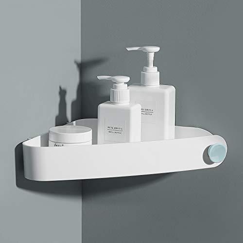 Mensola Angolare Doccia Mensole Bagno - Non Necessita di Trapano, Rimovibile - Può Contenere Sapone, Shampoo e Detergente Per il Viso - Mensole Bagno Autoadesiva (Triangolare, Bianca)